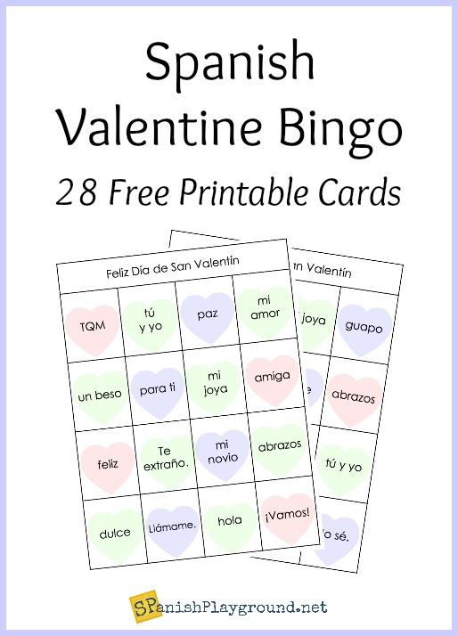 printable spanish bingo for valentine s day spanish playground. Black Bedroom Furniture Sets. Home Design Ideas
