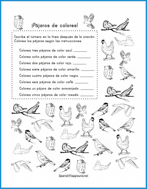 These printable Spanish counting activities teach number and color vocabulary to beginning readers.