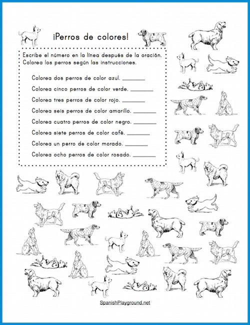Kids practice numbers and colors with these printable Spanish counting activities.