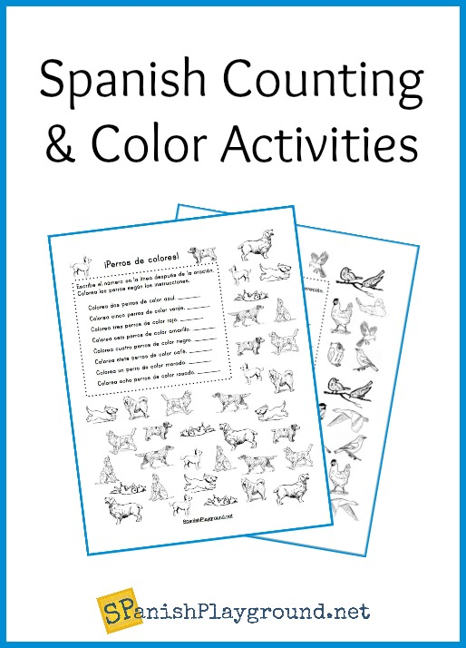 Use the printable Spanish counting activities to teach numbers and colors.