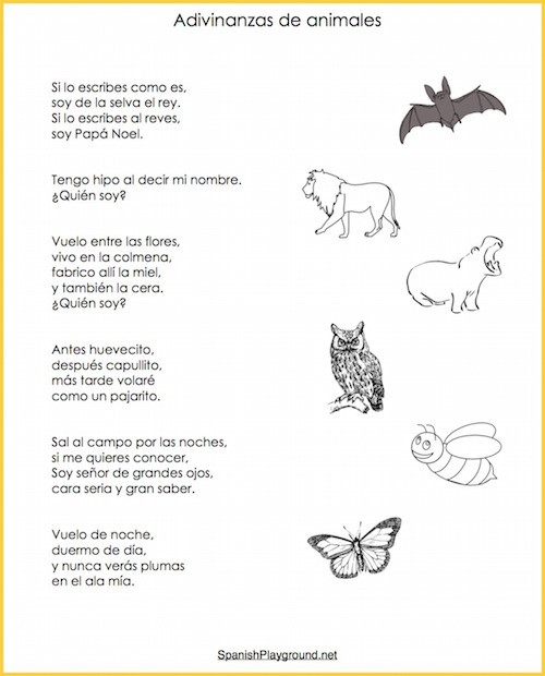 These Spanish riddles about animals have familiar vocabulary for language learners.