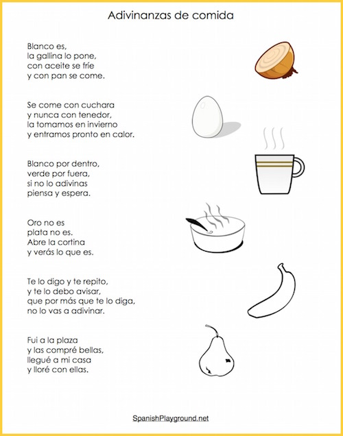 Children learn everyday vocabulary with Spanish riddles about food.