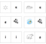 Printable Spanish Game - Dominoes with Vowels from Spanish Playground
