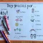 Spanish Thanksgiving Printables - Coloring Pages with Vocabulary