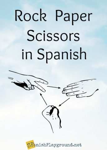 Playing rock paper scissors in Spanish is good language game for children.