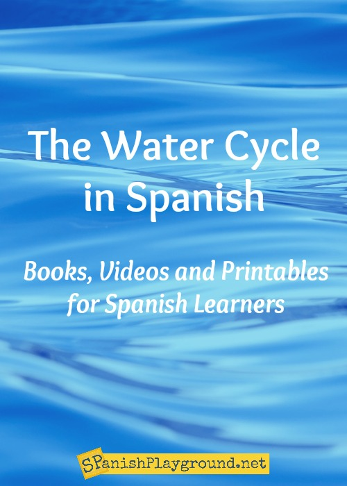 Learning about the water cycle in Spanish children learn content and new language.