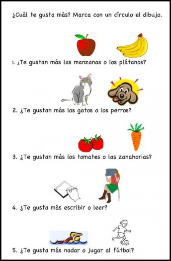Activity with gustar for kids learning Spanish