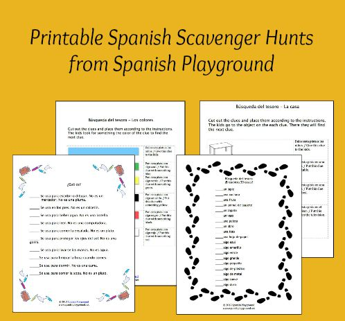 Printable Spanish scavenger hunts teach vocabulary to kids.