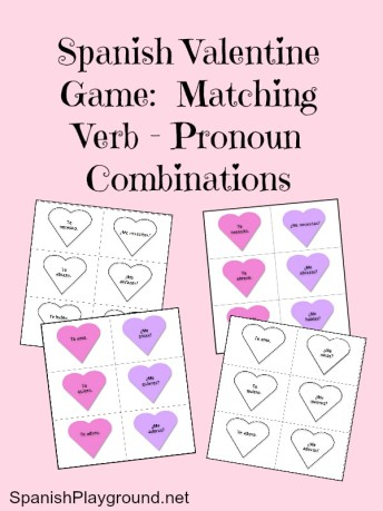 Spanish game for Valentines Day matches verbs and pronouns.