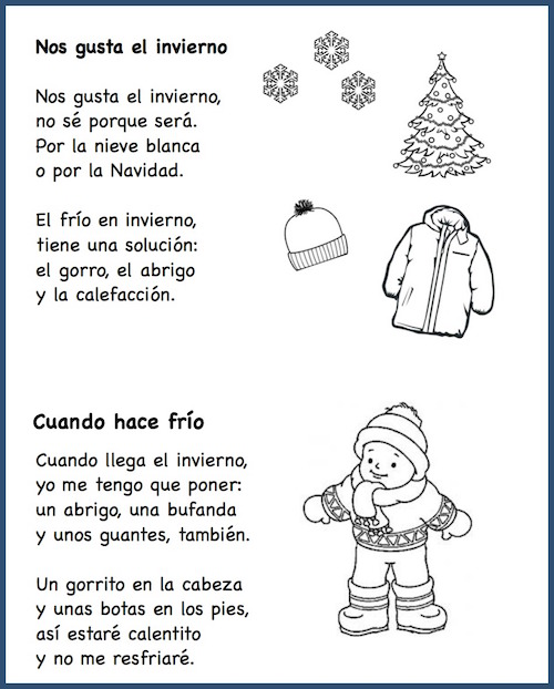Short Spanish poems about winter with weather and winter clothing vocabulary.