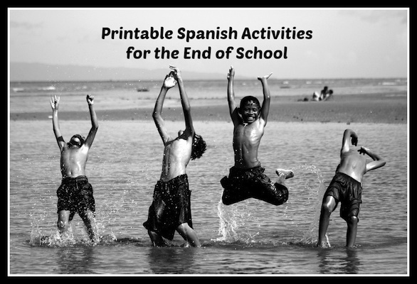 End of school printable activity for kids learning Spanish.