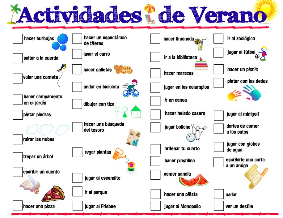 Printable Spanish Summer Activities List Spanish Playground