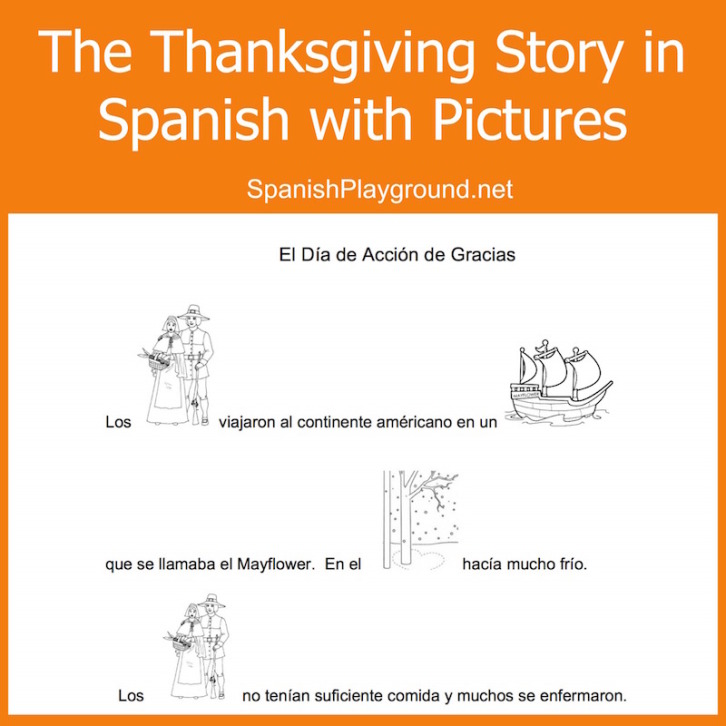 Spanish Thanksgiving Printable Kids Read Pictures to Speak Spanish