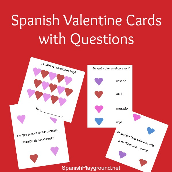 Spanish Valentine cards to print and share with kids learning Spanish.