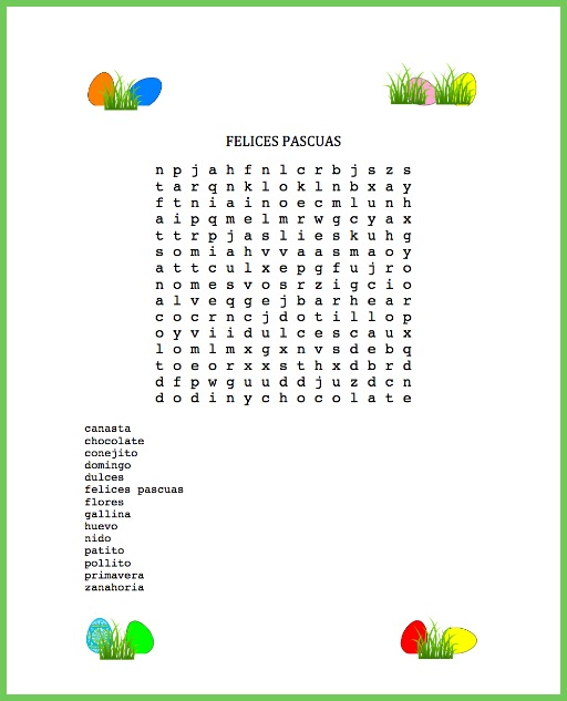 photo regarding Easter Word Search Printable Worksheets named Spanish Easter Term Glance: Incorporating Context - Spanish Playground