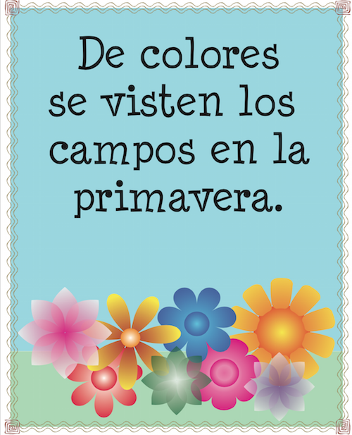 Printable Spanish posters help children learn the traditional song De colores.