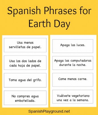 Spanish Earth Day phrases for kids to use as they talk about protecting the planet.