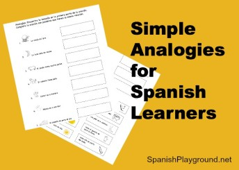 A printable Spanish activity with simple analogies.