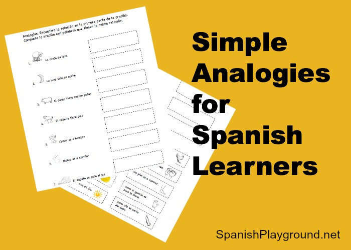Printable Spanish Activity For Kids Simple Analogies Spanish