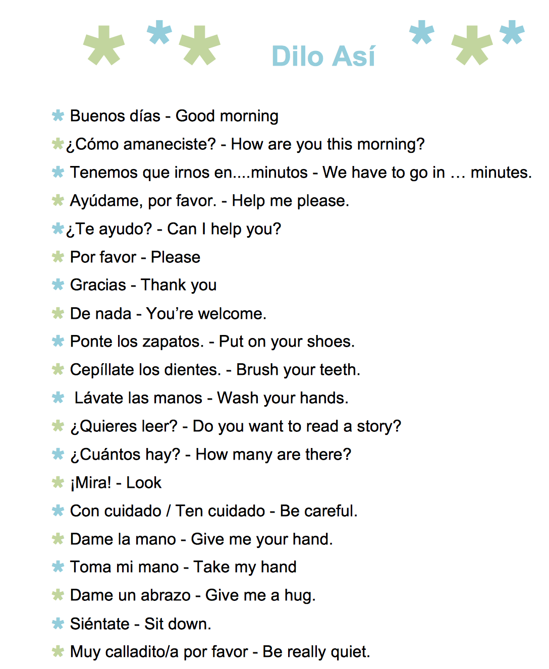 61 Common Spanish Phrases To Use With Kids A Printable List