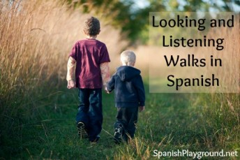 Printable Spanish activities for talking nature walks with kids.