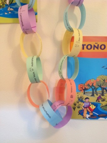 Class rules in Spanish help preschoolers have fun and treat each other well.