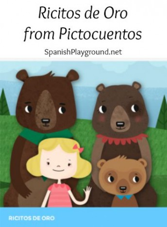 Spanish story for kids is Goldilock and the three bears told with pictograms for kids learning language.