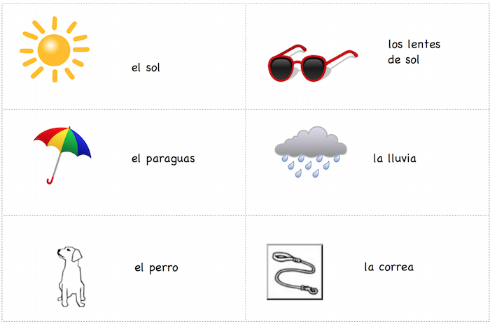 Spanish association cards for kids.