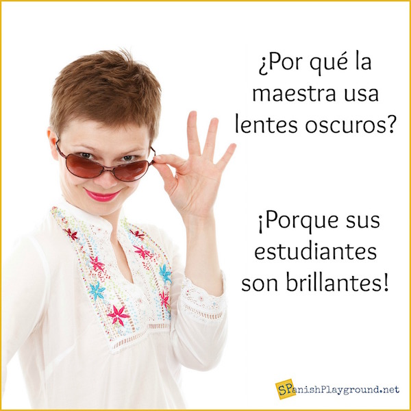 Fun jokes about school for kids learning Spanish.