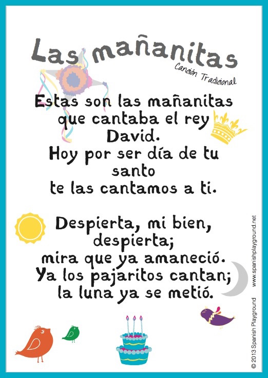 Happy Birthday Song In Spanish Free Printable Lyrics Spanish Playground
