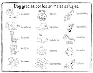 Color and learn wild animals in Spanish with this Thanksgiving activity.