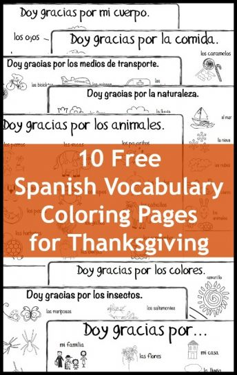 Children celebrate the holiday with these Spanish Thanksgiving vocabulary coloring pages to in class or at home.