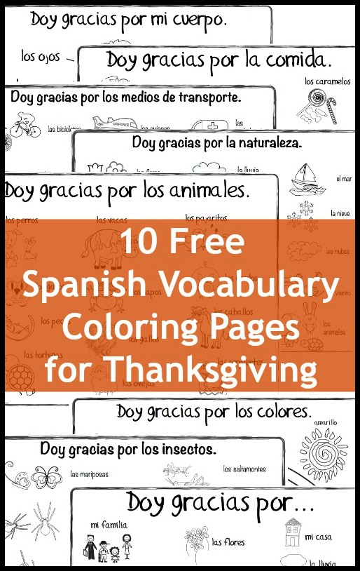 Spanish Thanksgiving Vocabulary Coloring Pages - Spanish Playground