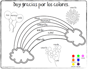 Spanish Thanksgiving vocabulary coloring pages teach children colors and other words.