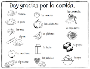 Spanish Thanksgiving vocabulary coloring pages teach children food words as they celebrate the holiday.