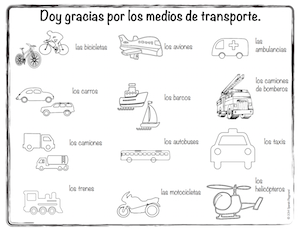 Kids color and give thanks for these means of transportation in Spanish.