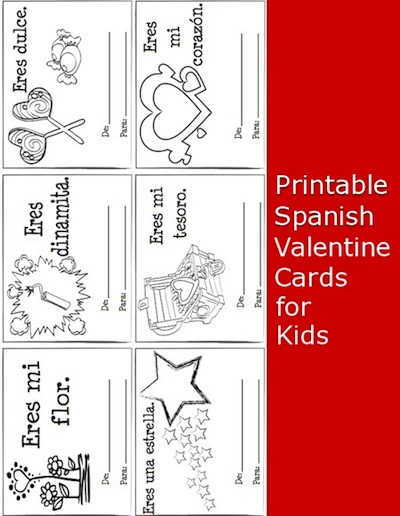 photo about Printable Valentines Cards for Kids known as Printable Spanish Valentine Playing cards for Little ones - Spanish Playground