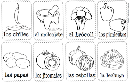 spanish words vegetables