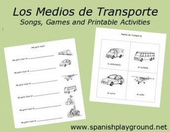 Kids learn Spanish transportation vocabulary with picture cards and activities.