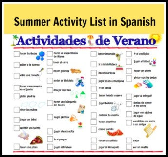 Summer activities for kids in a printable list in Spanish.