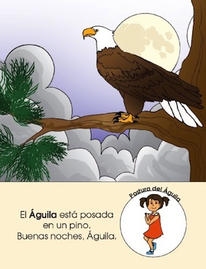 Yoga for kids in a Spanish story book.