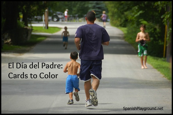 Printable Día del Padre cards for kids learning Spanish.