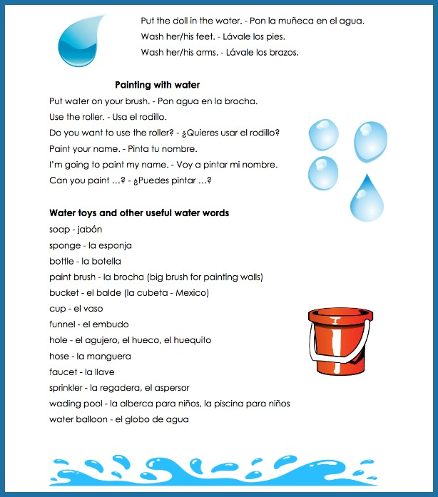 Playing in water is a great way to learn Spanish water words.
