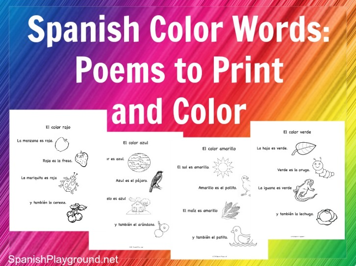 image regarding Color Words Printable named Spanish Coloration Text: Rhymes towards Print and Shade - Spanish