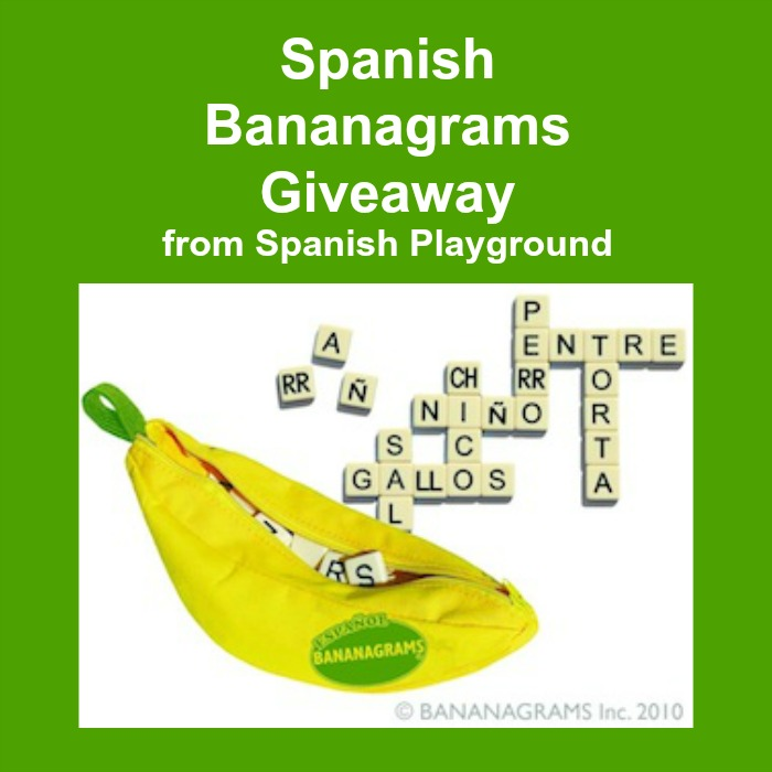 Spanish game Bananagrams is great for kids learning Spanish.