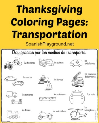 Thanksgiving coloring pages in Spanish to teach children vocabulary.