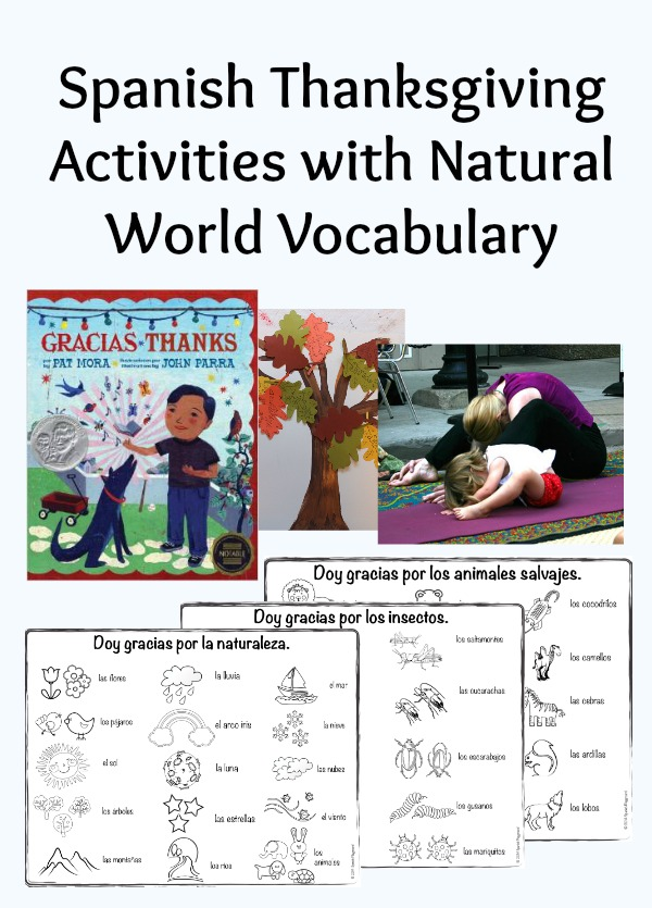 Spanish Thanksgiving activities that include nature vocabulary.