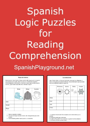Four printable Spanish logic puzzles for kids.
