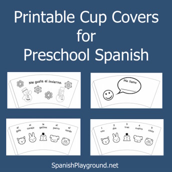Preschool Spanish students color these cup covers as a language activity.