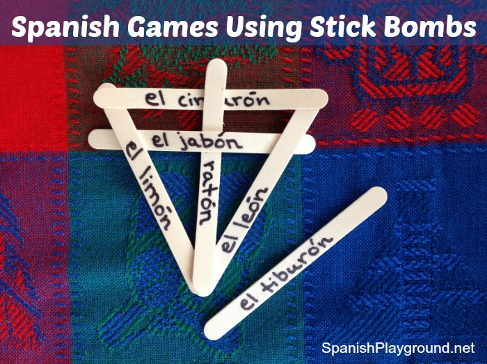 Hands-on Spanish games using stick bombs teach children vocabulary.